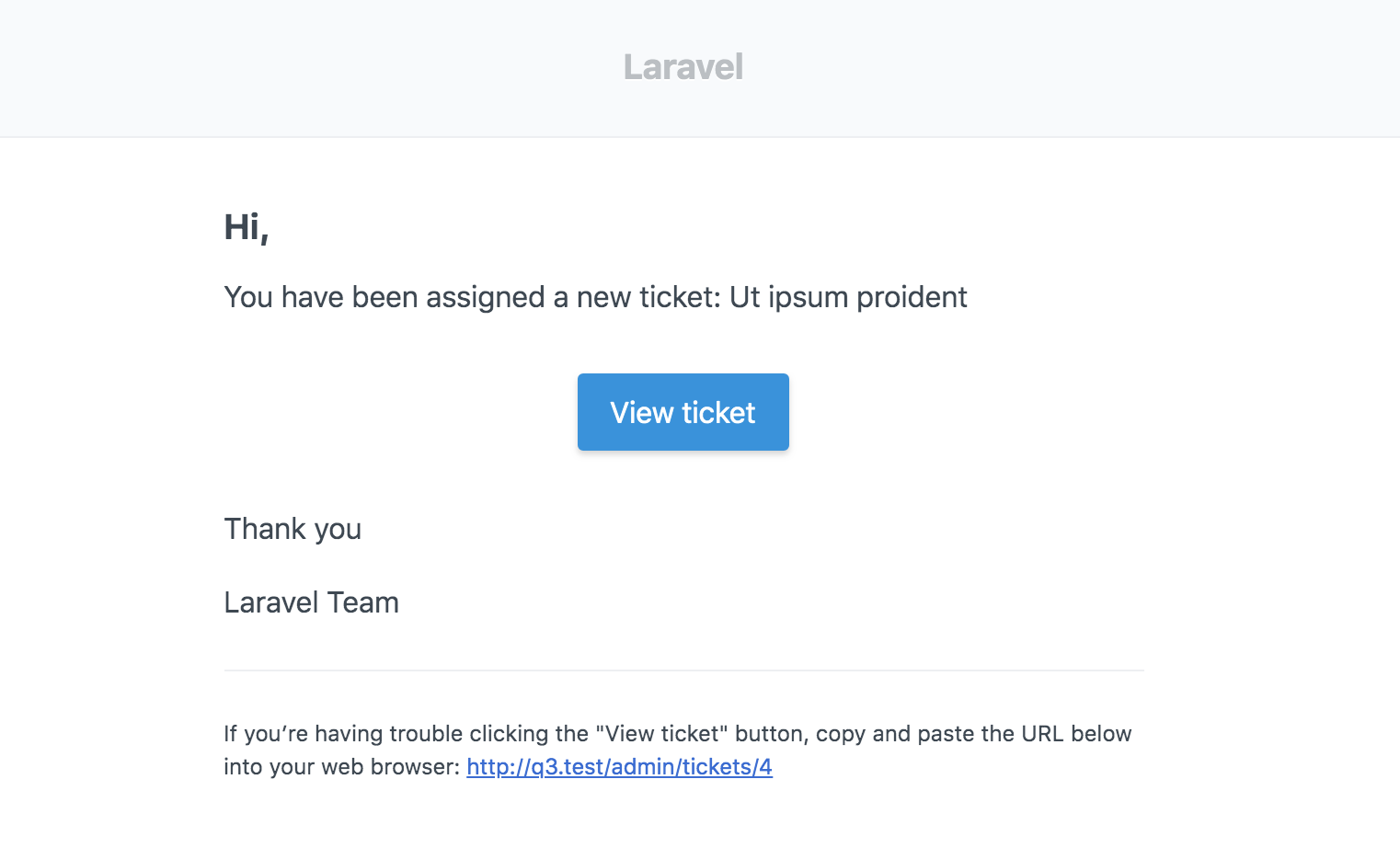 Laravel Helpdesk Ticket Notification