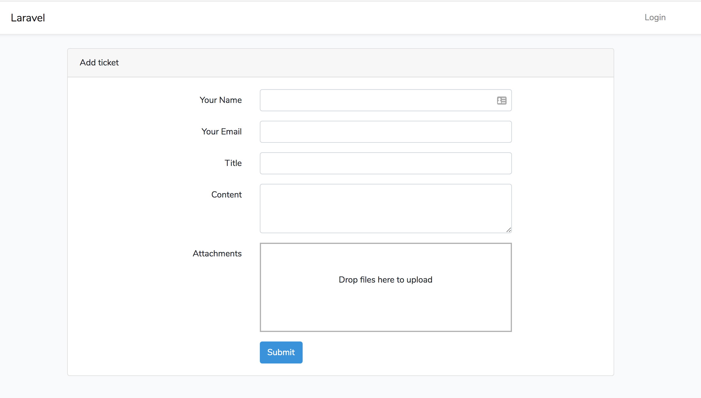 Laravel Helpdesk New Ticket