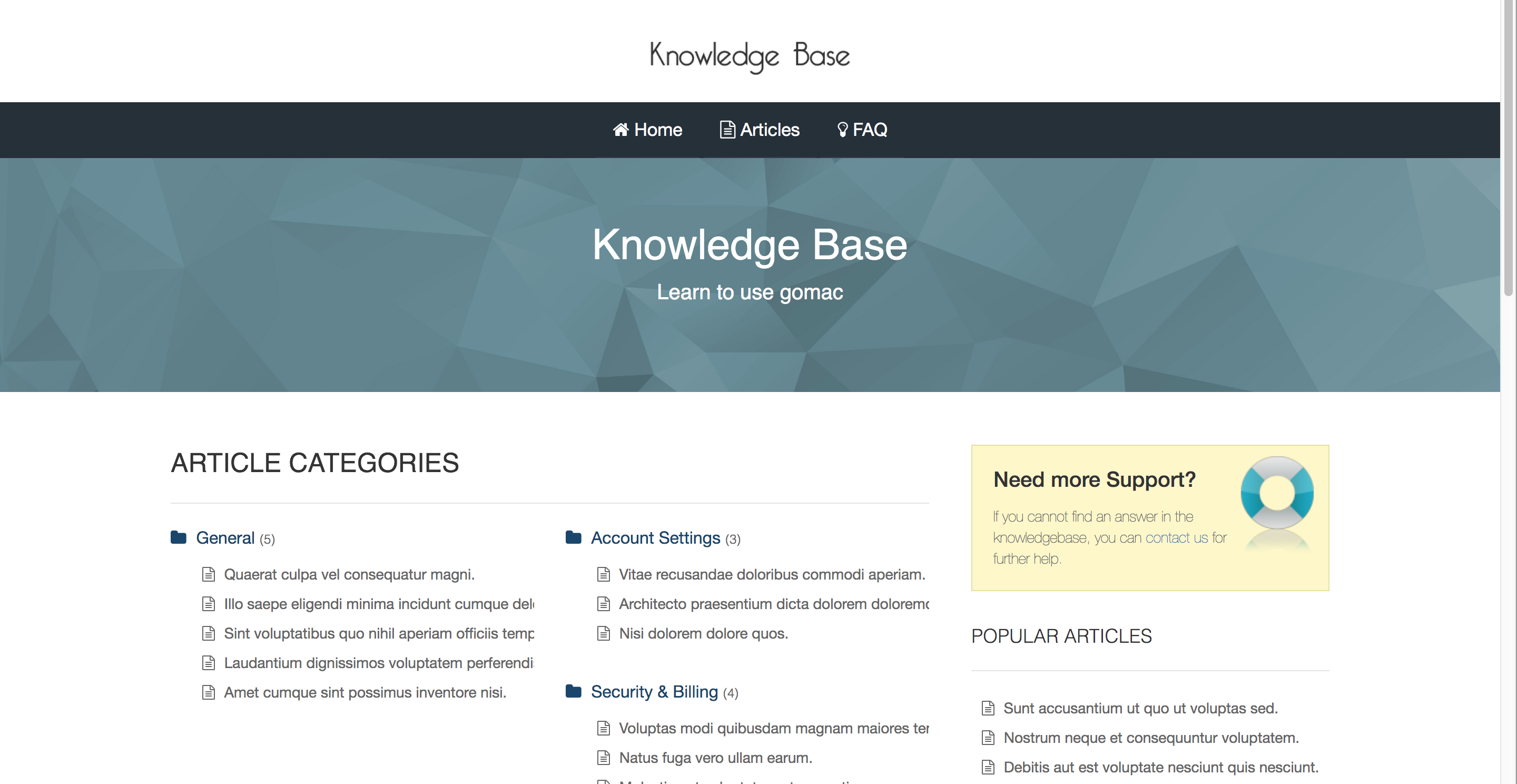 Laravel knowledge base FAQ
