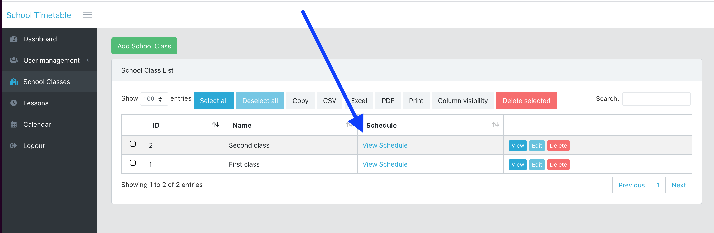 Laravel school timetable by class